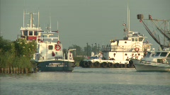 BP workers leaving Venice Harbor to Gulf of Mexico oil spill site_01 - stock footage