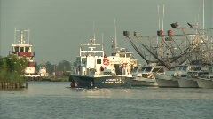 BP workers leaving Venice Harbor to Gulf of Mexico oil spill site_02 - stock footage
