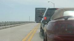 Van Makes A Three Point Turn At Draw Bridge Stock Footage