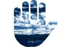 Hand print symbol ocean V3 - NTSC Stock Footage