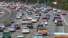 Heavy traffic in LA on six lanes Stock Footage