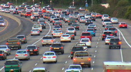 Stock Video Footage of heavy traffic in LA on six lanes