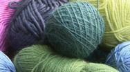 pink, blue, green, purple wool Stock Footage