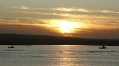 Sandbanks ferry at sunset cu Stock Footage