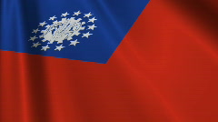 Burma-Myanmar Flag Loop 03 Stock Footage