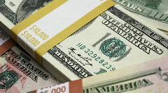 Macro money fly over Stock Footage