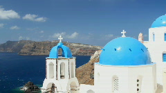 Greece Domes on Greek Island of Santorini Stock Footage