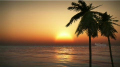 (1201S) Tropical Pacific Cruise Ship Palms Ocean Beach Romantic Sunset - stock footage