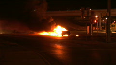 Car on fire 3 Stock Footage
