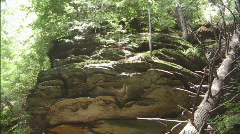 Massive Rock Outcropping with Trees and Foliage Stock Footage