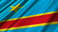 Congo Democratic Republic Flag Loop 02 Stock Footage