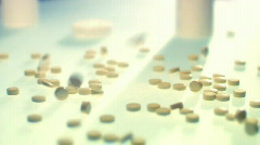 Pills on glass. Medicine - stock footage