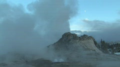 Geyser with moon behind Stock Footage
