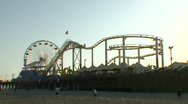 Stock Video Footage of Santa Monica Pier 04: People playing catch