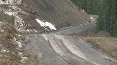 Motorsports, rally car, blue Subaru downhill pan Stock Footage