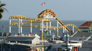 Stock Video Footage of Santa Monica Pier 02: Roller Coaster shot sequence