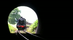 Steam train entering tunnel, JVC GY-HM100E Stock Footage