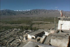 Indus Valley seen from Thiksey Gompa Stock Footage