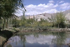 Reflections in sacred lake at Shey in Ladakh Stock Footage