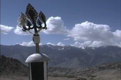 Buddhist symbol & Zanskar Range Stock Footage
