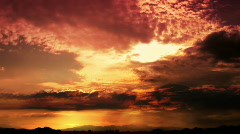 Dark Orange Clouds Stock Footage