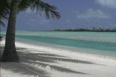 Aitutaki Lagoon and palm tree shadows Stock Footage
