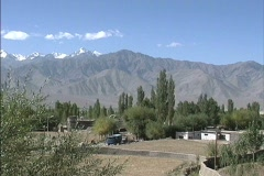 Valley farm and the Zanskar Range in north India Stock Footage