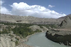 Steep banks on the Indus River Ladakh Stock Footage