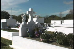 Cemetery with cross in south Louisiana Stock Footage