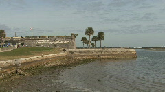Florida Spanish fort St Augustine palms Stock Footage