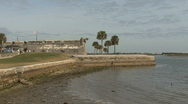 Stock Video Footage of Florida Spanish fort St Augustine palms
