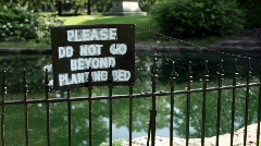 Please Do Not Go Beyond Planting Bed Sign Stock Footage