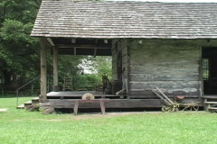 Rural Life settlers cabin porch LA Stock Footage