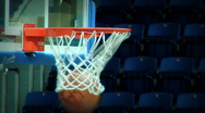 Ball flies into basketball baskets goal hoop Stock Footage