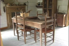 Table and chairs Acadian farmstead LA Stock Footage