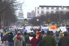 Peace March to Michigan Capitol Stock Footage