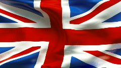 Textured UNITED KINGDOM cotton flag with wrinkles and seams Stock Footage