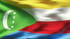 Textured COMOROS cotton flag with wrinkles and seams Stock Footage