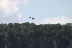 Helicopter Along Palisades Hudson River Stock Footage