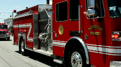Fayetteville fire department in Firemans Parade Stock Footage