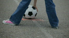 Soccer ball  (football) kick  Stock Footage