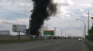 Stock Video Footage of fire at auto wrecker, heavy smoke, #1
