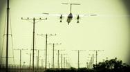 Propeller Commuter Airplane Crosswind Landing Stock Footage