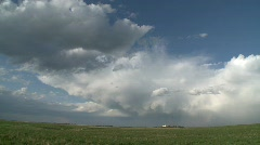 Weather, prairie thunderstorms pan Stock Footage