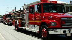 Fire Trucks in Fayetteville Firemans Parade Stock Footage