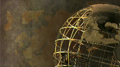 Spinning Globe with Map Background Stock Footage