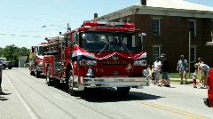 Pan of Firetruck in Fireman's Festival Stock Footage