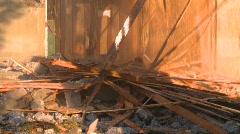 Debris falling, building demolition, #3 Stock Footage