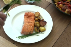 Chef Salmon Plate NTSC Stock Footage