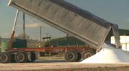 Truck tips fertilizer Stock Footage